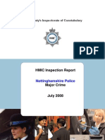 Notinghamshire Police Major Crime HMIC inspector report