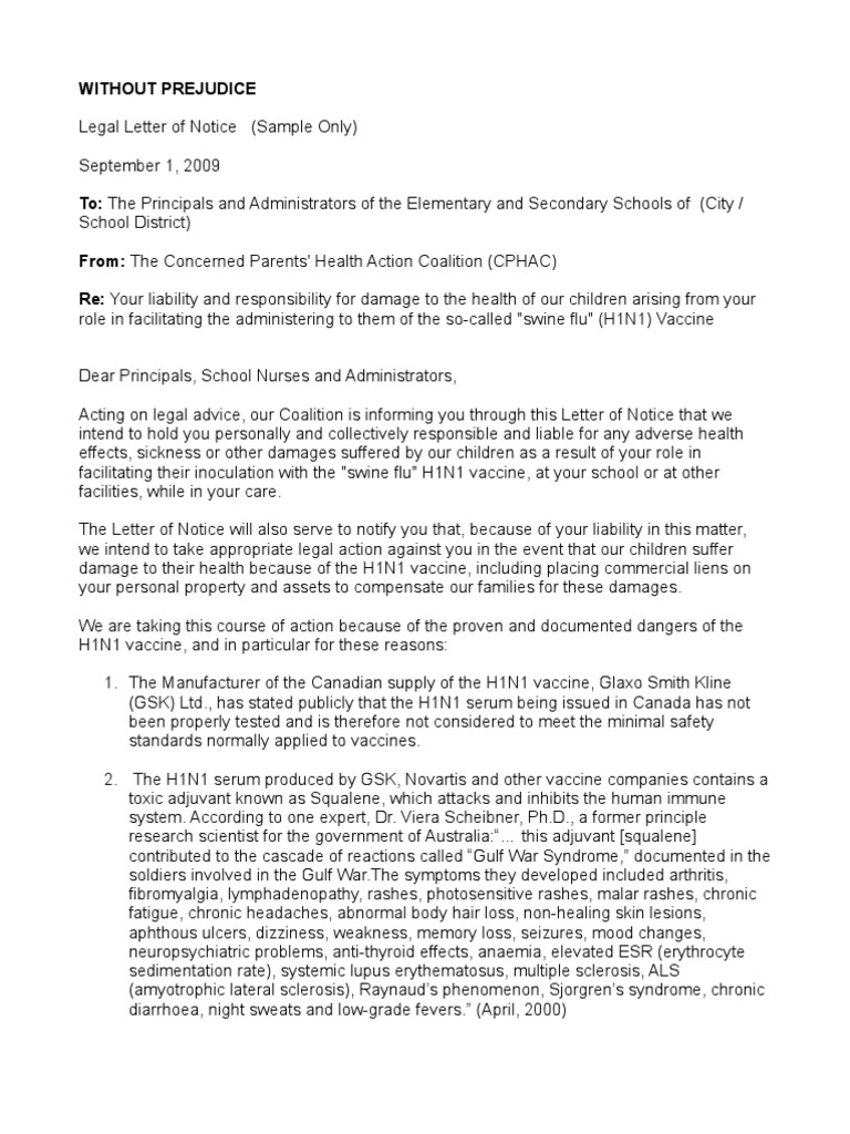 Sample Legal Letter Of Notice To Principles And School Nurses