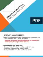 Literary Analysis Essay Tom Sawyer