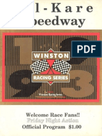 1993 Kil Kare Speedway Nascar Winston Racing Series Race Program