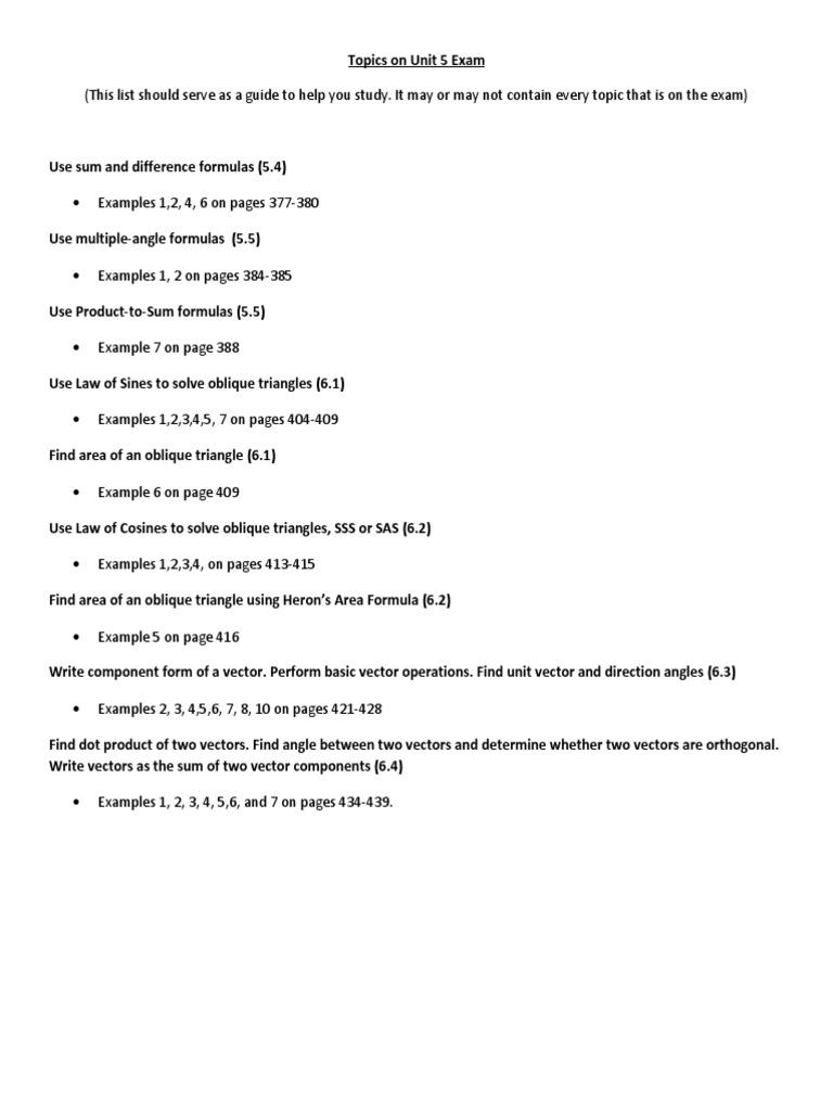 Unit 5 Test Review Trigonometric Functions Sine