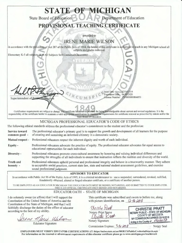 State Of Michigan Certification Notary Public Government Information