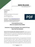 Massey Ferguson Press Release Antarctica2 Expedition Reaches South Pole Master 091214