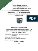 Proyecto de Investigación - Canal 47 - Huaraz