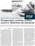 22-11-2014 Posponen sesión sobre nuevo Sistema de Justicia