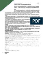 AP European History Fall Semester Review