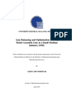 Line Balancing and Optimization for Single Model Assembly Line at a Small Medium Industry (SMI)