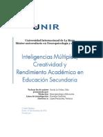Inteligencias Múltiples, Creatividad y Rensmiento Académico en Educación Secundaria