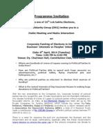 Program Invitation - Corporate Funding of Elections in India - 8th April - Constitution Club, Delhi