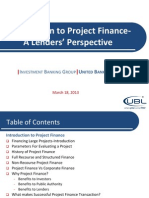 Project Financing-Lenders Perspective
