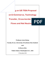 Briefing on Leaked US TISA Proposal on Cross-border Data Flows and Net Neutrality