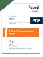 ShoreTel SC 600e Certificate