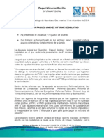 Boletín de la Dip. Raquel Jiménez .Informe Legislativo