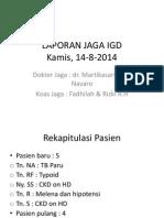Laporan Jaga Igd Kamis 14-8-2014