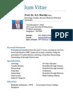 Prof. Dr. N. S. Murthy's CV