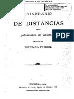 Portada Itinerario de Distancias de Las Poblaciones de Colombia