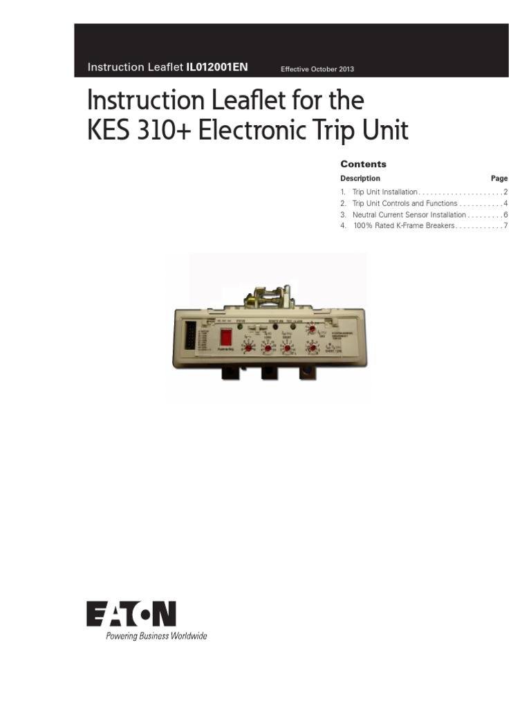 Il012001en Instruction Leaflet For The Kes 310 Electronic Trip Eaton Current Relay Unit Electrical Connector