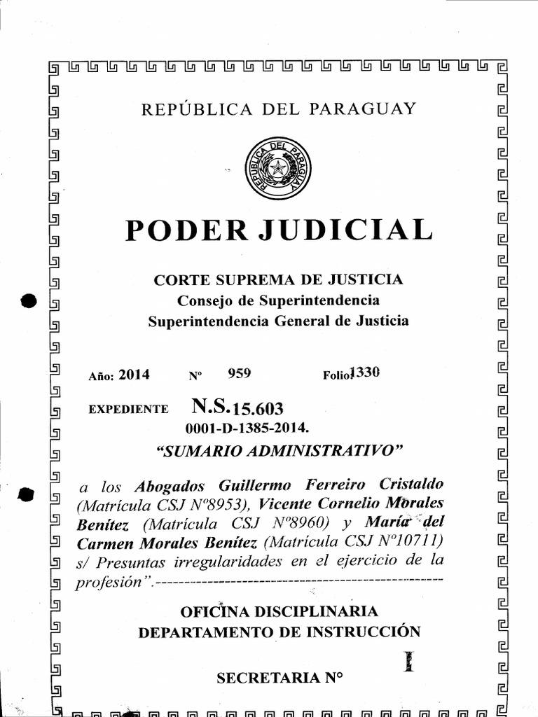 Sumario instruido a los Abogados del caso Curuguaty