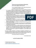 Pronunciamiento de la Junta de Presidentes FEPUC 2014 sobre el nuevo régimen laboral juvenil