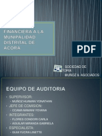Auditoria Financiera a La Munipalidad Distrital de Acora