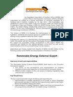 Renewable Energy External Expert at the RERA Secretariat