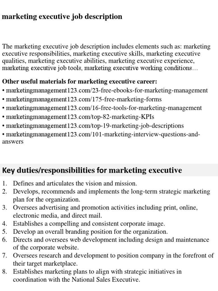 Marketing Executive Job Description | Marketing | Recruitment