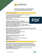 Agenda Actividades Destacadas. Del 17 de diciembre al 6 de enero de 2015. Fundación Caja Mediterráneo