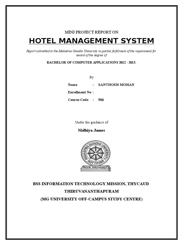 Report of Hotel Management System Santhosh Mohan | Microsoft Sql