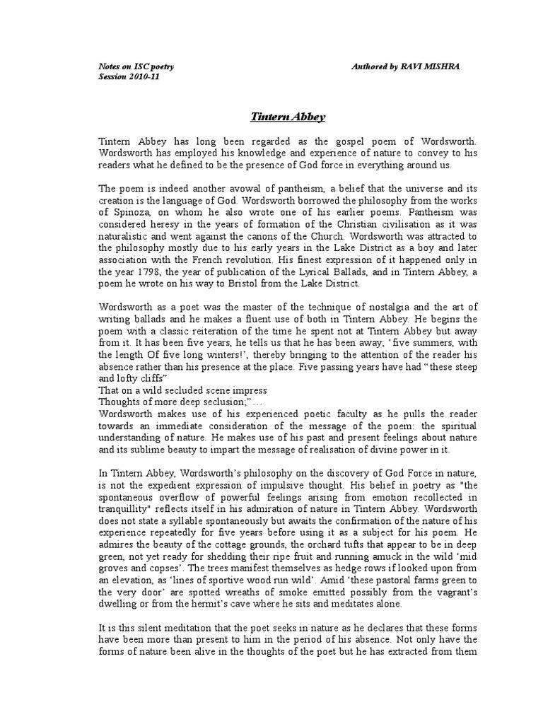 pantheism in tintern abbey