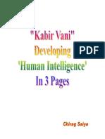 Kabir Vani- Developing Human Intelligence In 3 Pages