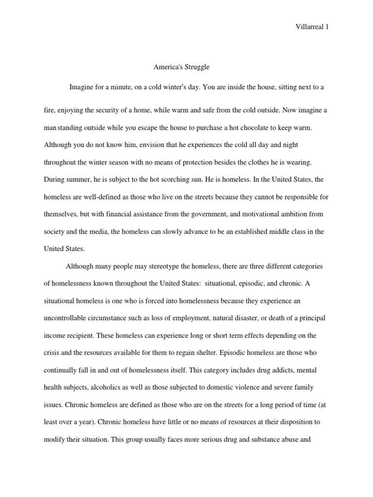 social problem of homelessness essay