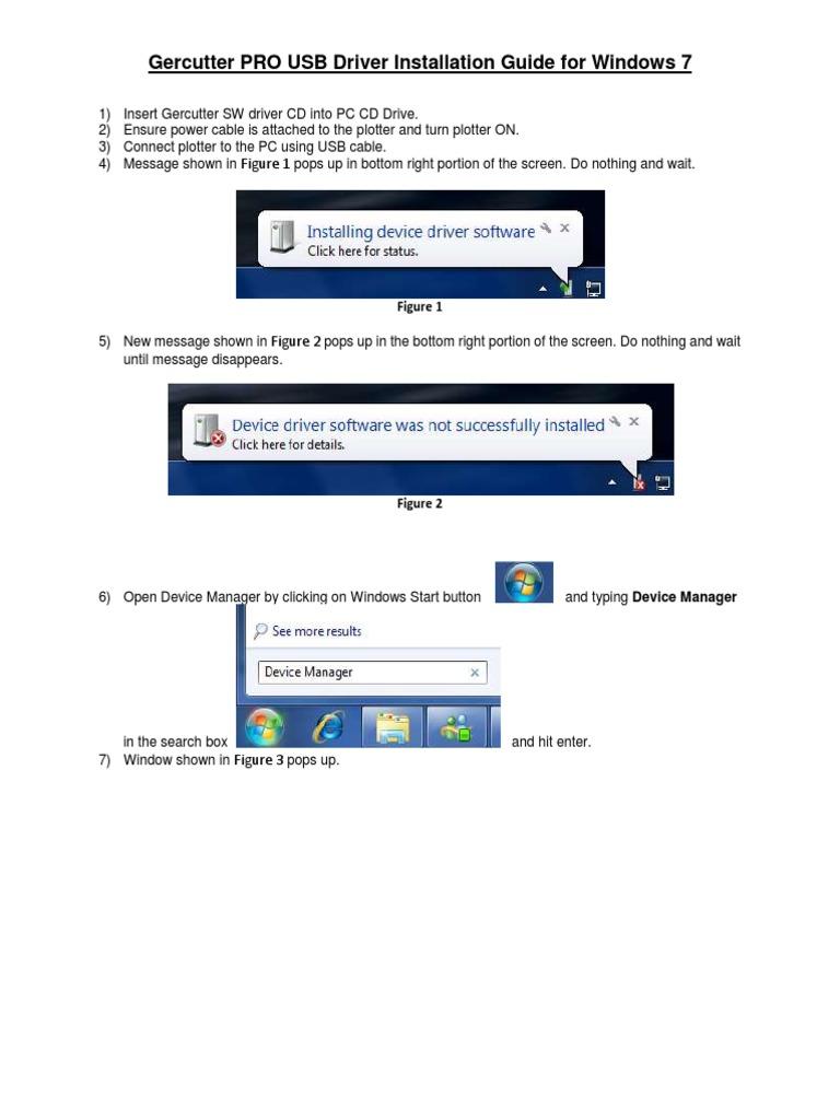 Windows 7 Gercutter PRO Driver Installation