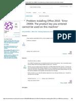 Problem Installing Office 2010 Error 25004