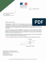 Lettre de Josiane Chevalier, 9 août 2013.