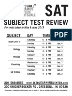 SAT Subject Test Flyer for May-June 2015