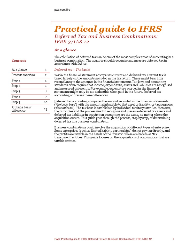 Deferred Tax and Business Combinations: IFRS 3/IAS 12 | Goodwill