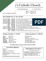 Bulletin for December 21, 2014