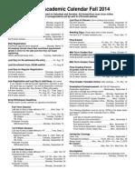 Academic Calendar Fall 2014