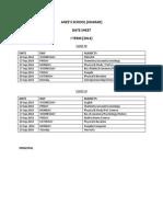 Poonam Date Sheet