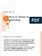 Topic 9 Ethics & Values in Leadership
