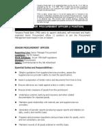 Job Advert - Senior Procurement Officer