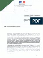 Lettre de Philippe Martin levant le moratoire de Delphine Batho.