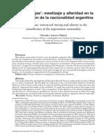 Ricardo Rojas Mestizaje y Alteridad en La Construcción de La Nacionalidad Argentina