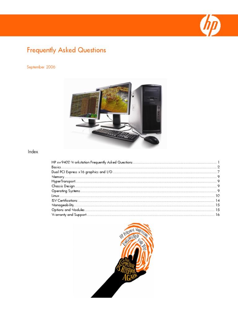 Hp Xw9400 Faqs   Advanced Micro Devices   Microsoft Windows
