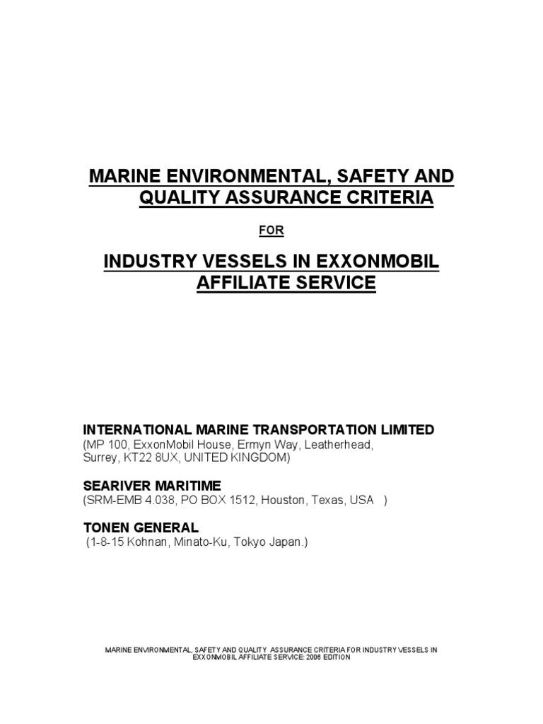exxonmobil minimum safety criteria oil tanker ships rh scribd com Engineering Design Manual Template Mobile Equipment Manual Design