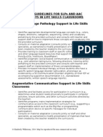 Life Skills Service Guidelines for SLPs And AAC Specialists
