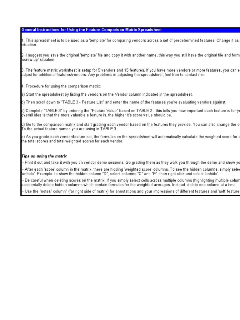 vendor spreadsheet template