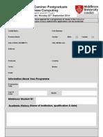 The David Caminer Scholarship Application Form 2014