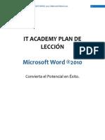 Plan de Lección Microsoft Word 2010