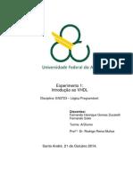 Relatório Exp1 Introdução Ao VHDL Lógica Programável Quad5.2